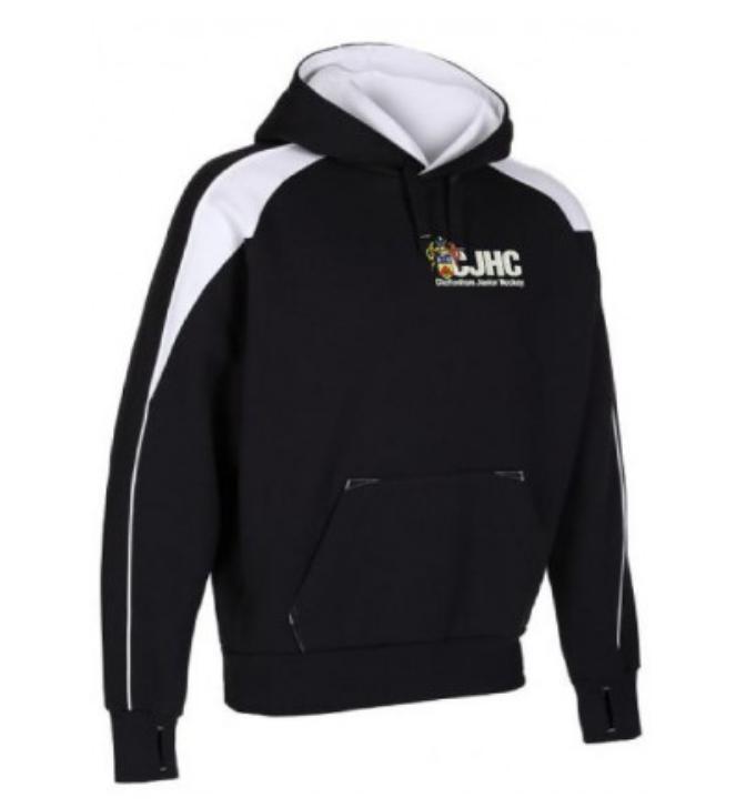 Black hoodie with CJHC logo